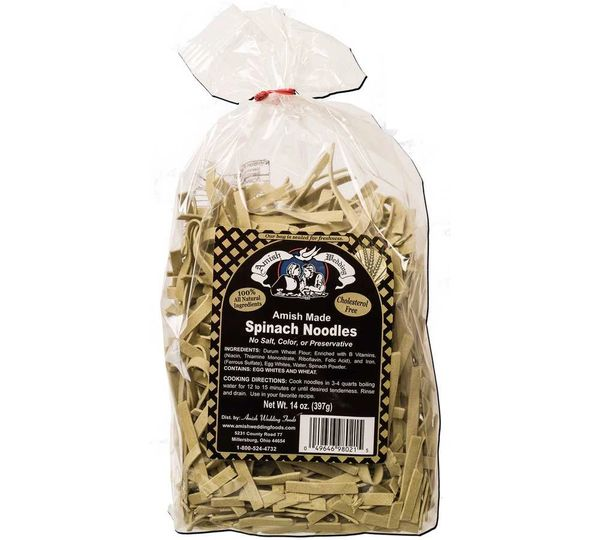 Amish Wedding Spinach Noodles (14 oz), Case of 6 Cello Bags