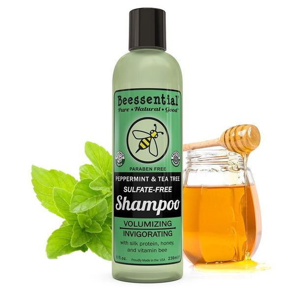 Beessential Sulfate Free Peppermint and Tea Tree Shampoo -Six-8 Oz Bottles