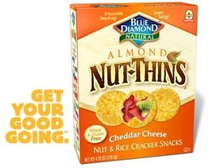 Blue Diamond Almond Nut-Thins Cracker Snacks, Cheddar Cheese, 4.25 oz, Case of 12