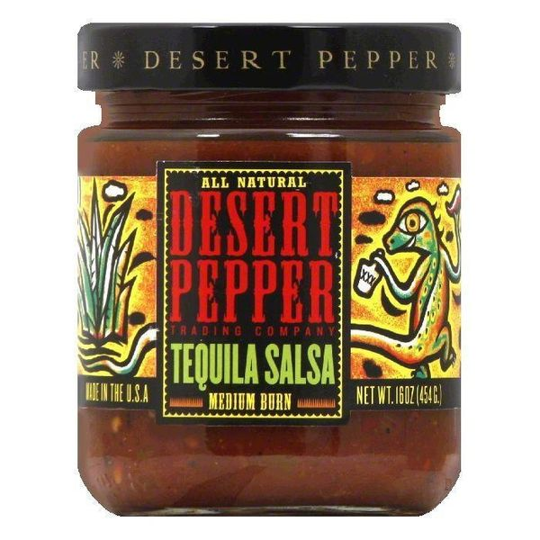 DESERT PEPPER TEQUILA SALSA, 16 OZ (PACK OF 6 Glass Jars)