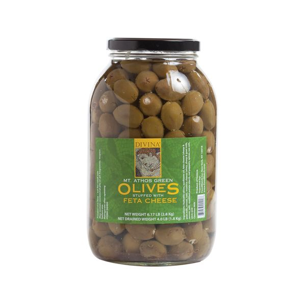 Divina Mt. Athos Green Olives Stuffed with Feta, 6.17 Lb Glass Jar