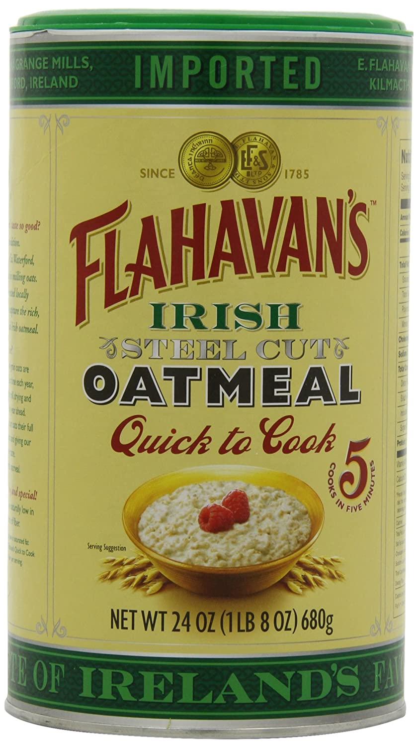 Flahavan's Quick to Cook Irish Steel Cut Oatmeal, 24 oz Tin, Case of Six Tins