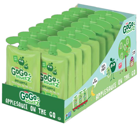 GoGo SqueeZ AppleApple Applesauce on the Go, 3.2 oz, 18 Ct
