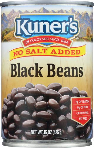Kuners Black Beans No Added Salt, 15 oz, Case of 12 Cans