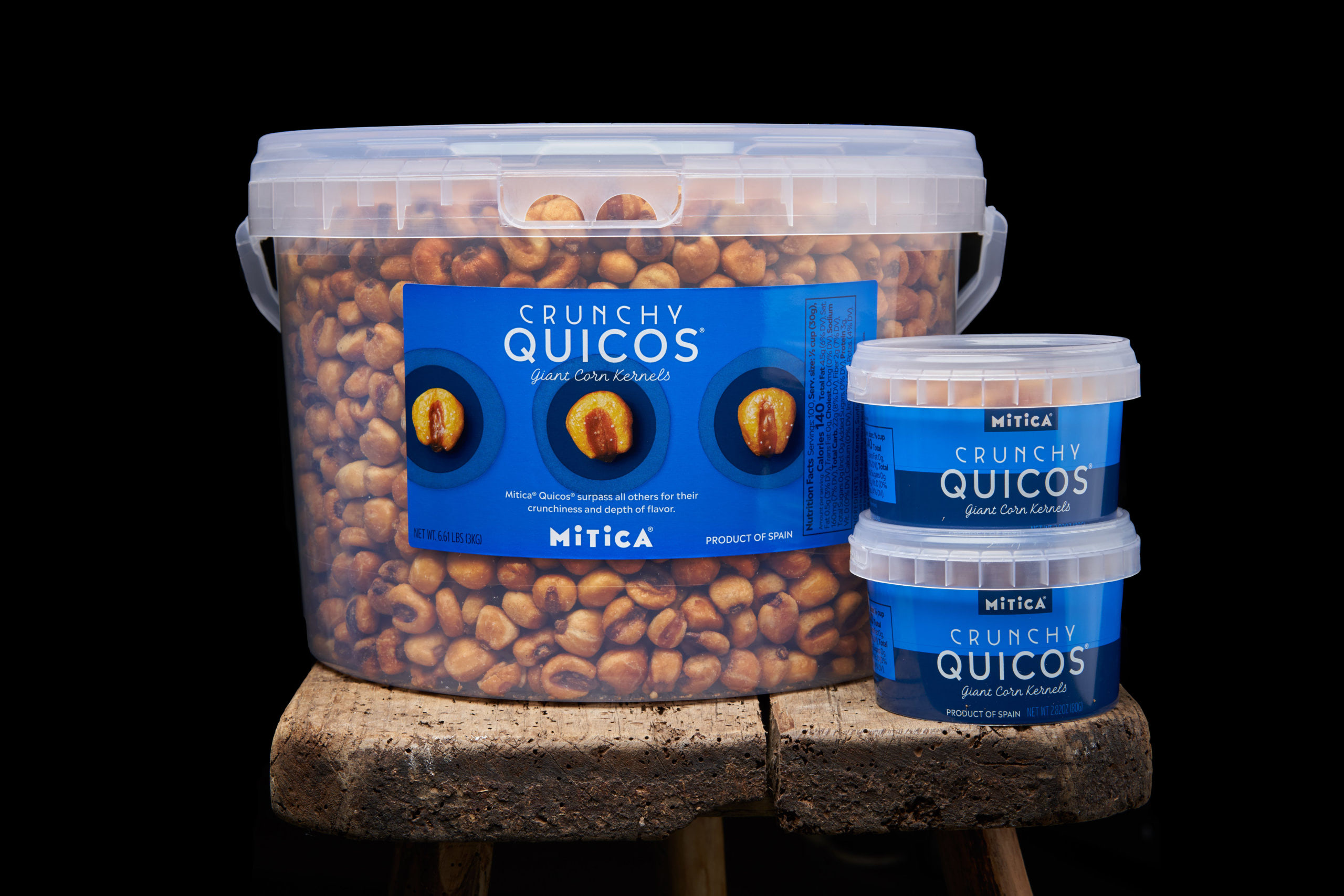 MITICA QUICOS(Kee-koes) SALTED CORN NUTS(Quicos: Giant Crunchy Corn) 6.6 LB Tub