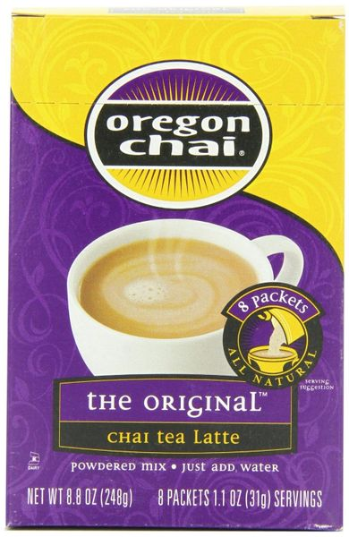 Oregon Chai Tea Powdered Mix, Case of Six - 8 Count boxes( 48 total servings!))