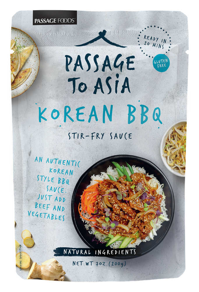 Passage to Asia Korean Beef BBQ Stir-Fry Sauce, Case of Six 7 oz Pouches