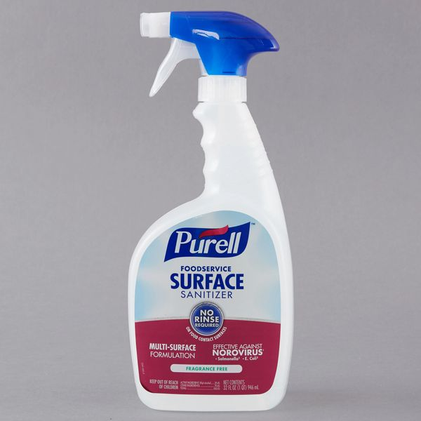 Purell Fragrance Free Surface Sanitizer, Pack of Four 32 Oz Spray Bottles
