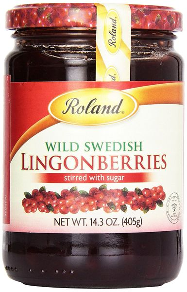 Roland Wild Swedish Lingonberries, 14.2 oz Jars, Case of 6 Jars