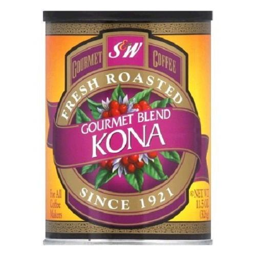 S & W Gourmet Kona Blend Coffee, Fresh Roasted & Ground,  - 11.5 oz (Pack of 6)