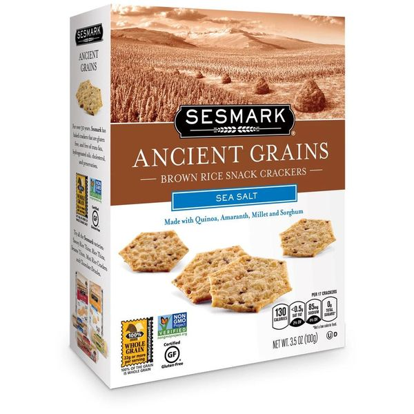 SESMARK ANCIENT GRAINS CRACKERS, SEA SALT, 3.5 OZ (Case of 6 Boxes)