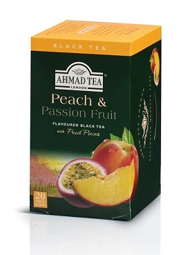 Ahmad Peach & Passion Fruit Black Tea, 20-Count Boxes (Pk of 6)