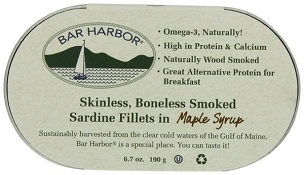 Bar Harbor Smoked Sardine Fillets in Maple Syrup, 6.7 Oz (6 Tins)