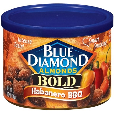 Blue Diamond Bold Habanero BBQ Almonds, 6 oz, Six Cans.
