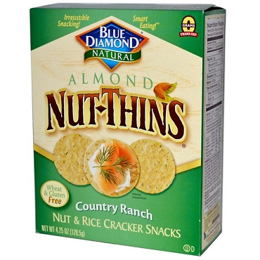 Blue Diamond Country Ranch Nut-Thins, Nut & Rice Cracker Snacks, Case of 12 Box
