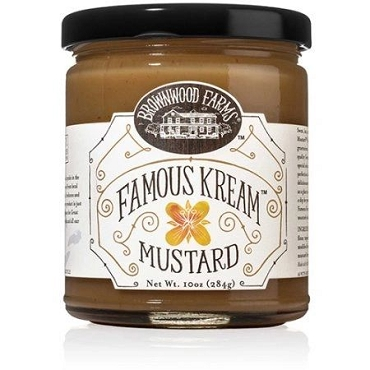 Brownwood Farms Famous Kream Mustard, 10 Oz, Case of Six Glass Jars