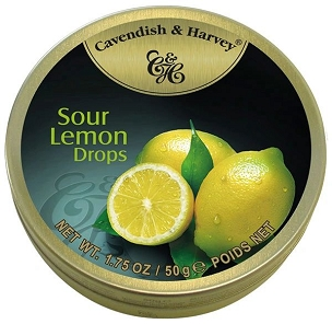 Cavendish & Harvey Sour Lemon Hard Candy Drops 5.3 oz \ Case of 7 Tins