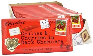 Chocolove Chilies and Cherries in Dark Chocolate, Case of 12