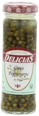Delicias Green Peppercorns in Brine, 3.5 Oz Jars (Pack of 12)