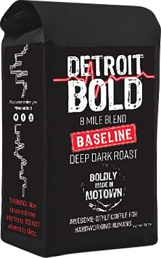 Detroit Bold 8 Mile Baseline Blend Coffee - Dark Roast - Ground - Six 16 Oz Bags