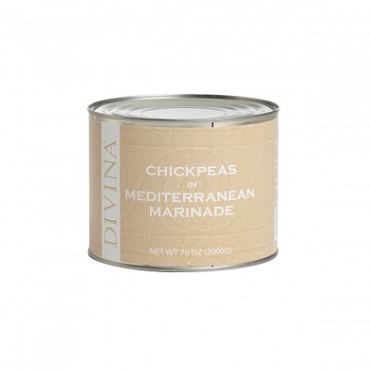 Chickpeas in Mediterranean Marinade by Divina, 70 Oz(4.375 LB) Tin