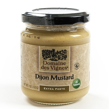 Dijon Mustard (Extra Forte) by Domaine des Vignes of France, 7 Oz, 6 Glass Jars