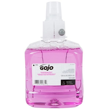 GOJO 1912-02 LTX Plum 1200 mL Foaming Antibacterial Hand Soap Refill, Case of 2