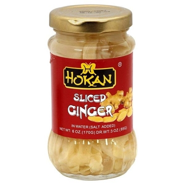 Hokan Sliced Ginger in Salt Brine 6 Oz (Pack of 6)