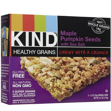 Kind HGB Maple Pumpkin Seed Bar with Sea Salt, Pack of Eight Boxes, 5 count each (Total of 40 bars)