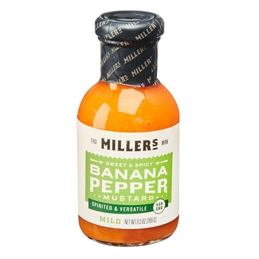 MILLERS MILD BANANA PEPPER MUSTARD, 9.5 Oz Glass Bottle, Case of 6 Bottles