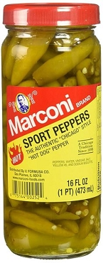 Marconi Authentic Chicago Style Hot Sport Peppers, 16Oz (Pack of 5)