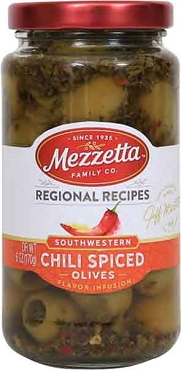 Mezzetta  Southwestern Chili Spiced Olives, 6 Oz Glass Jars, Case of Six Jars