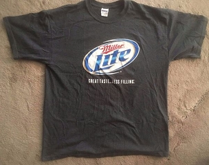 Miller Lite Great Taste...Less Filling T-Shirt, Used , XL 50-50