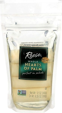 Reese Whole Hearts of Palm , 12 Oz Resealable Pouch, Case Pack of 12 Zip Pouches