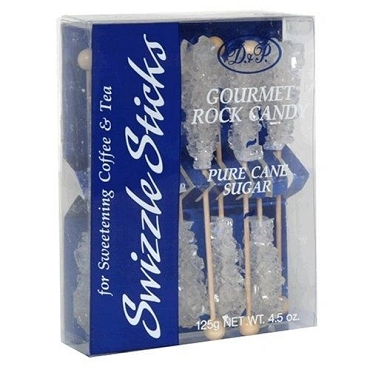 Rock Candy Swizzle Sticks, White - 10 Piece Box (Pack of 6), 60 Stix Total.