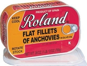 Roland Anchovy Flat Fillets in Olive Oil, Big 28 Oz Tin