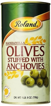 Roland Manzanilla Olives Stuffed with Anchovies, 25 Oz( pack of 2)