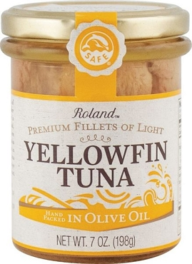 Roland Premium Yellowfin Tuna Fillets, 7 Oz Jars, Case of 6 Jars
