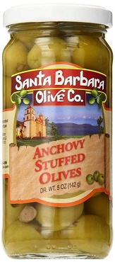 Santa Barbara Anchovy Stuffed Olives, 5 Oz Glass Jars (Pack of 6)