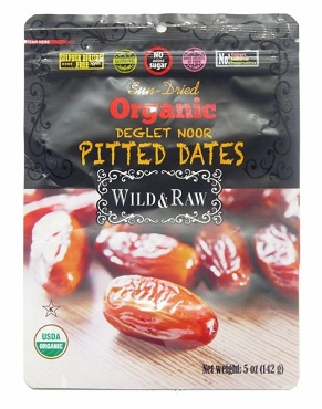 Sun Dried Organic Deglet Noor Pitted Dates, 5 Oz Pouch- 24 Pack