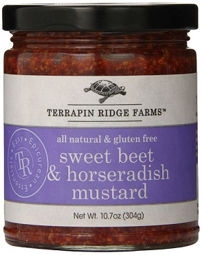 Terrapin Ridge Farms Sweet Beet and Horseradish Mustard, 10.7 Oz, Pack of 6 Jars