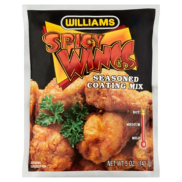 Williams Spicy Wings Seasoned Coating Mix, 5 Oz, Case of 12