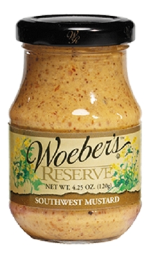 WOEBER'S RESERVE SOUTHWEST MUSTARD - 4.25 OZ Glass Jars, Case of Six Jars