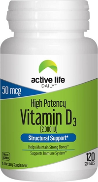 ACTIVE LIFE DAILY VITAMIN D3 2000IU 120 SOFTGELS- 3 Pack