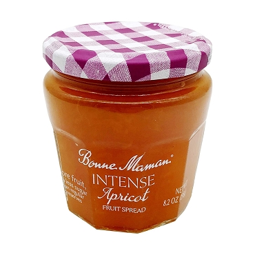 BONNE MAMAN Intense Apricot Fruit Spread, 8.2 OZ, Case of Six Glass Jars