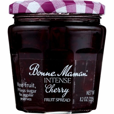 BONNE MAMAN INTENSE CHERRY FRUIT SPREAD 8.2 OZ JAR, Case of Six Glass Jars