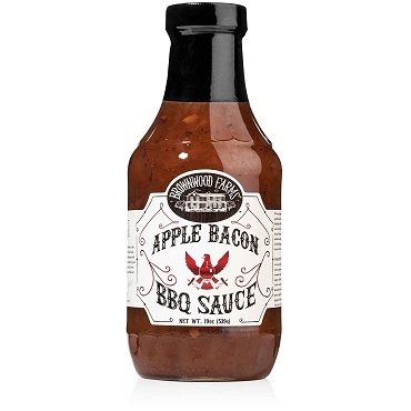 Brownwood Farms Apple Bacon BBQ Sauce, Case of Six 19 Oz Glass Bottles
