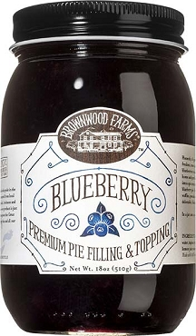 Brownwood Farms Blueberry Pie Filling and Dessert Topping - 18 oz Glass, Case of Six Jars