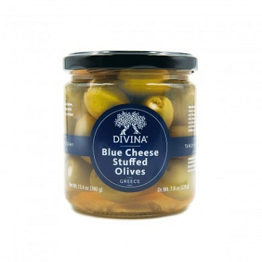 Divina Olives Stuffed with Blue Cheese, 13.4 OZ Glass Jars- Pack of 6