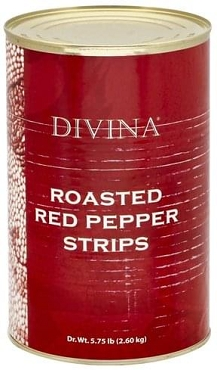 Divina Roasted Red Peppers 5.75 Lb(drained Wt) Can